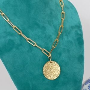 gold link chain necklace with disc charm pendant